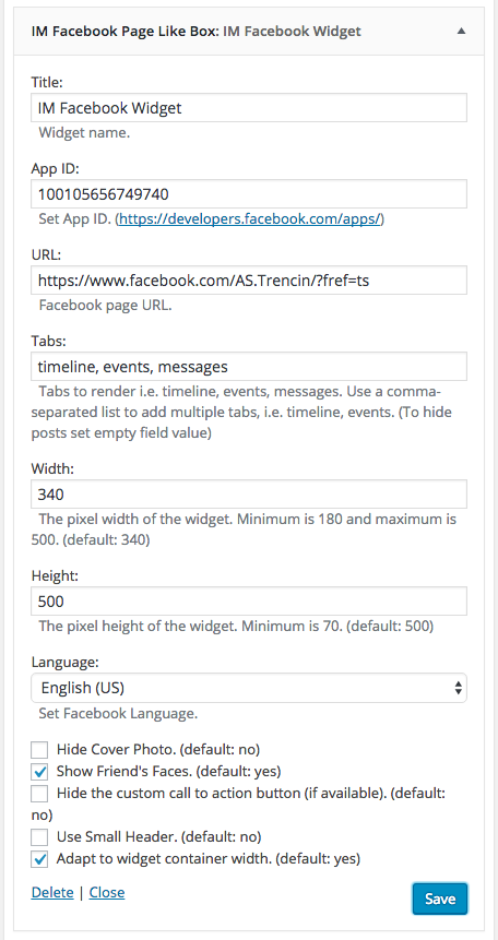 Widget - IM Facebook Page Plugin in administration.
