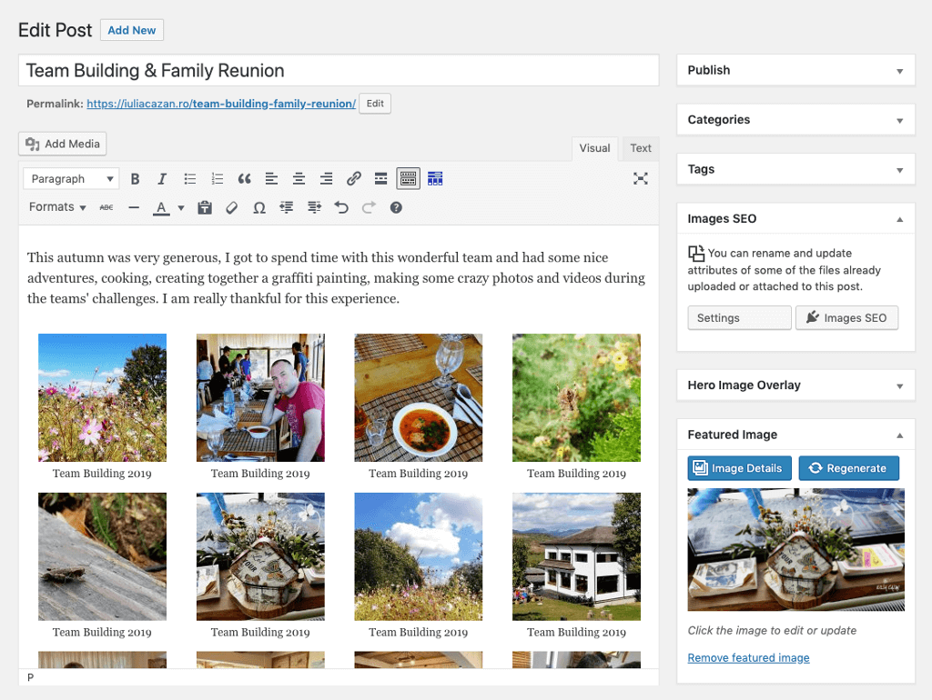 Example of the details and regenerate buttons for the featured image of a post.