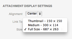 The default media size selection drop down box.