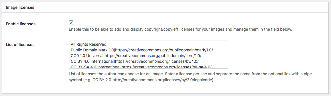 settings to manage image source licenses