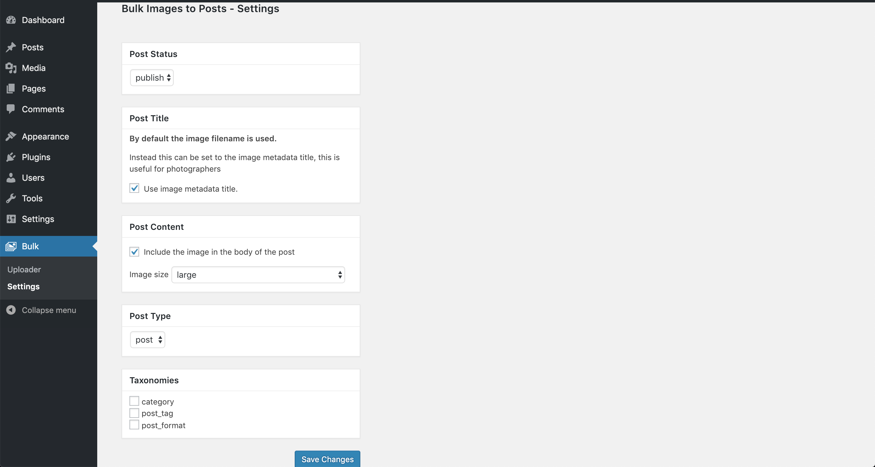 Preview of the settings page