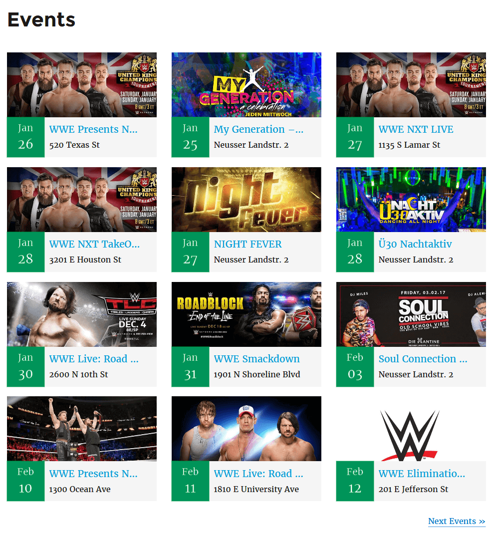 "Events page using '[facebook_events posts_per_page=""12""]' shortcode"