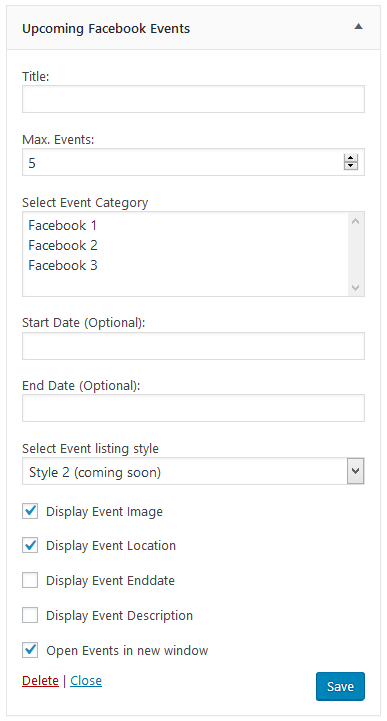 Upcoming Facebook Events widget in front-end without Event image(Pro)