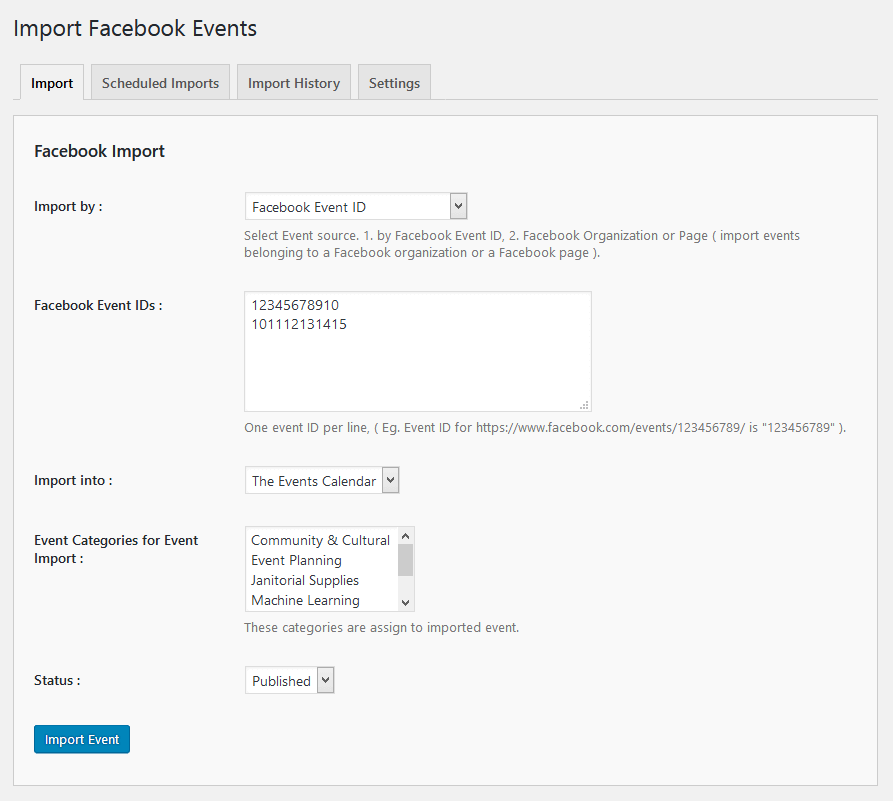 Import Facebook events by Organization/Page ID (Pro).
