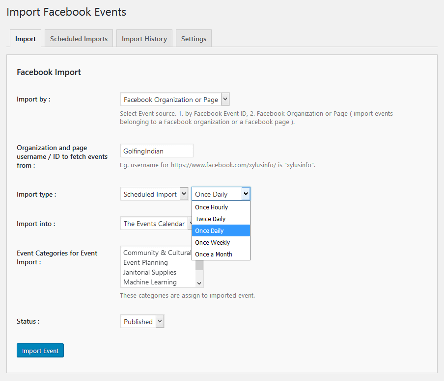 Scheduled Facebook Imports (Pro).