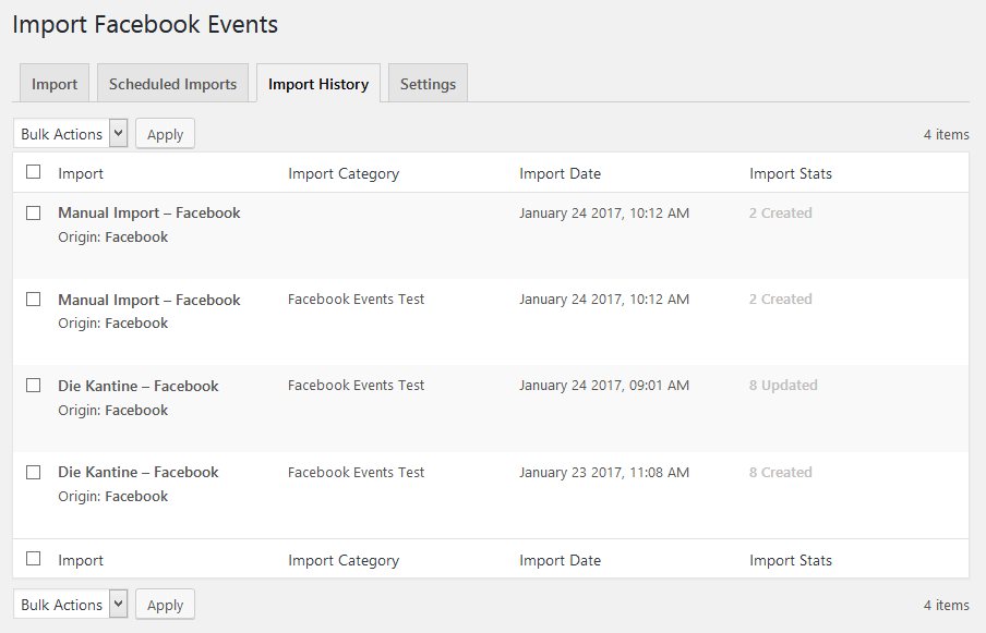 Upcoming Facebook Events widget in backend (Pro)