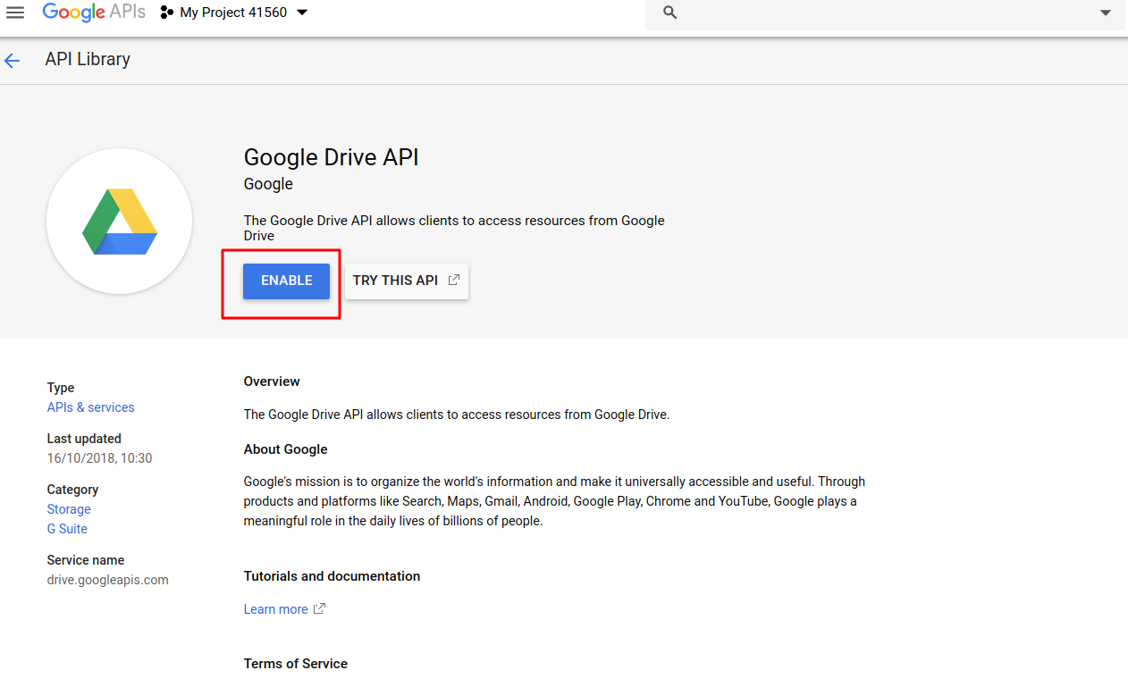 "<p>In the next page, the system will ask you to enable google drive api for your new project, then just press button ""Enable"".</p>"