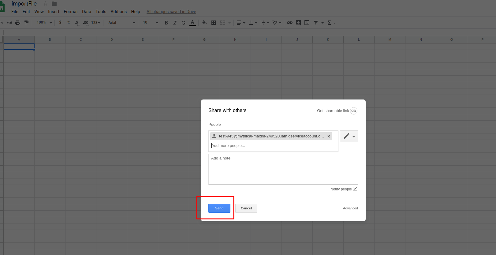 <p>Open your google sheet file that you set to your google drive in step 1 and share access to it with client_email email that you copy to buffer in previous step.</p>