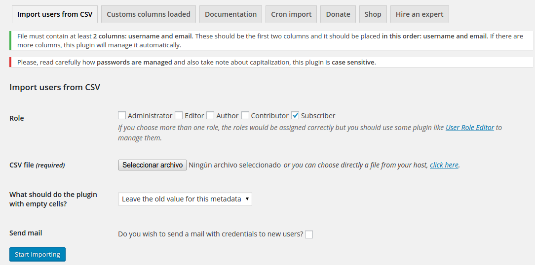 Import users from CSV with meta – Extension WordPress