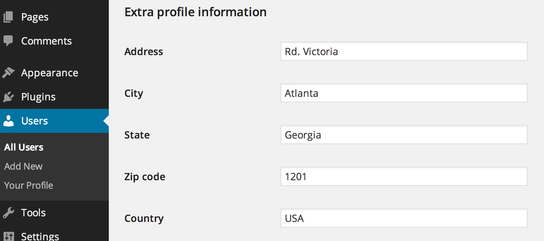 Extra profile information (user meta)