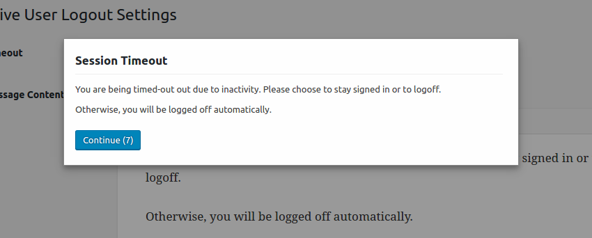 Inactive User Logout