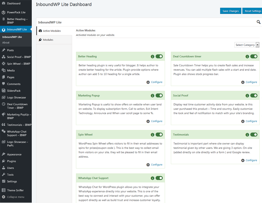InboundWP Lite Dashboard - Enable various modules for your website.