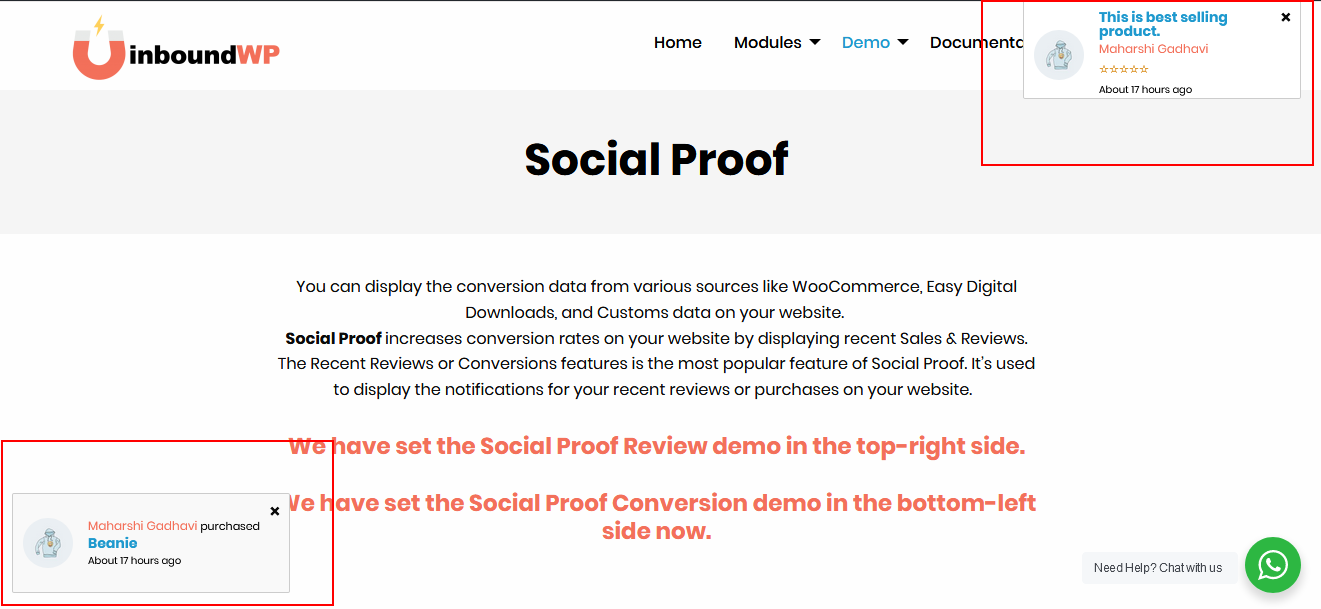 Social Proof - Work with WooCommerce and Easy Digital Download plugins.