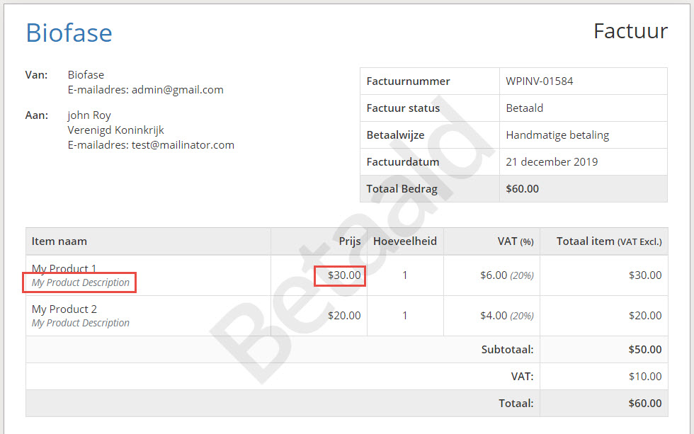 Individual description and prices in pdf inovoice