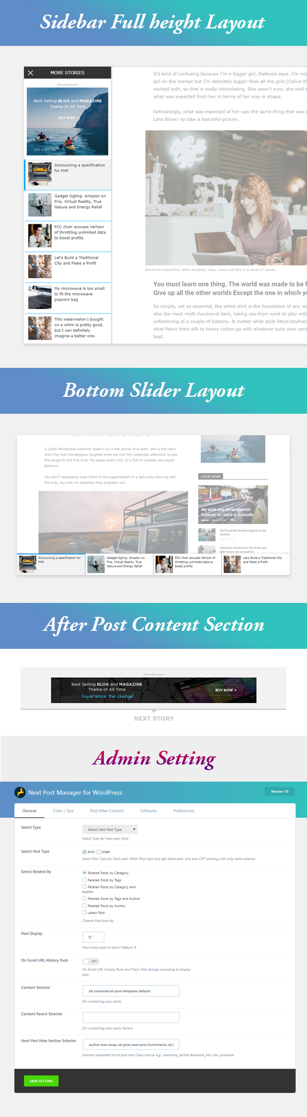 Left Sidebar, Bottom Slider and After Content Image add Example