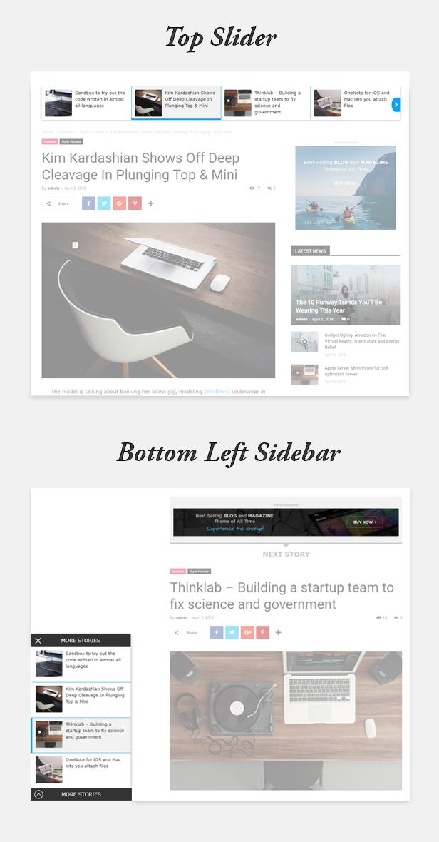Top Slider and Bottom Left Sidebar