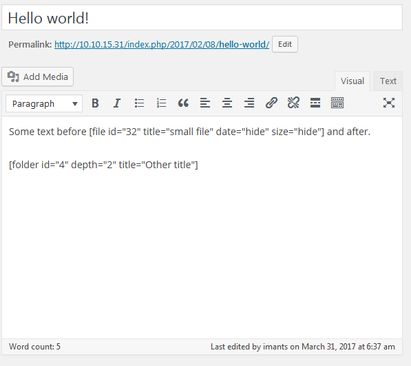 Shortcode usage in article editor