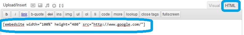 Screenshot of using shortcode