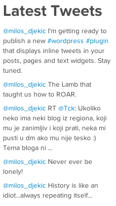 Latest tweets displayed in the sidebar