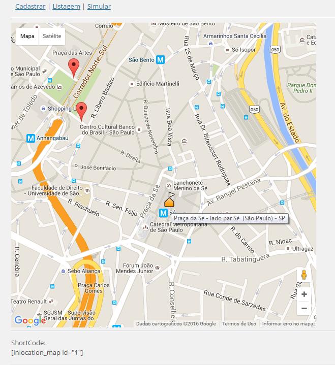 Simulação do Mapa, e exibição do ShortCode.