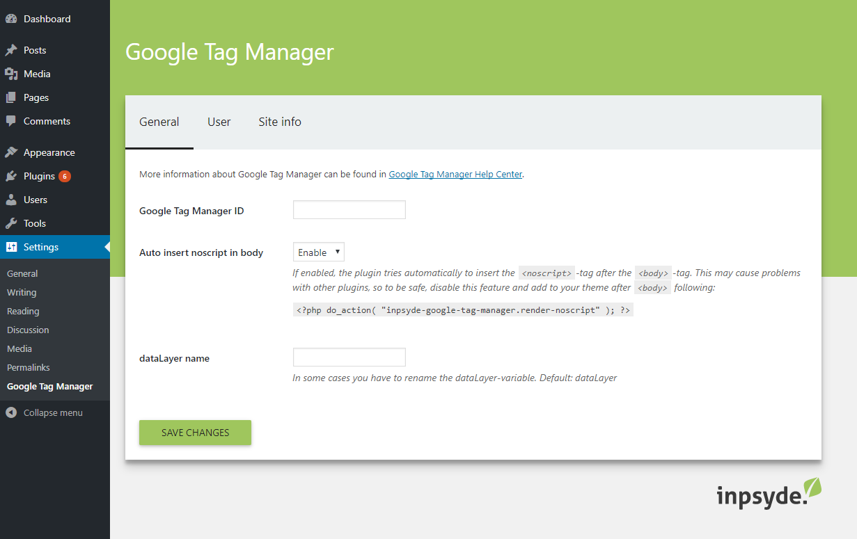 Tab General - Insert the Google Tag Manager ID and choose how to insert the  tag.