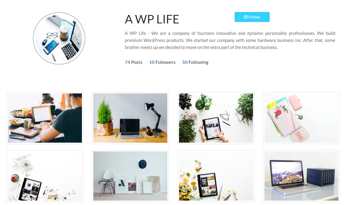 insta style gallery screenshot-5 with 3 column