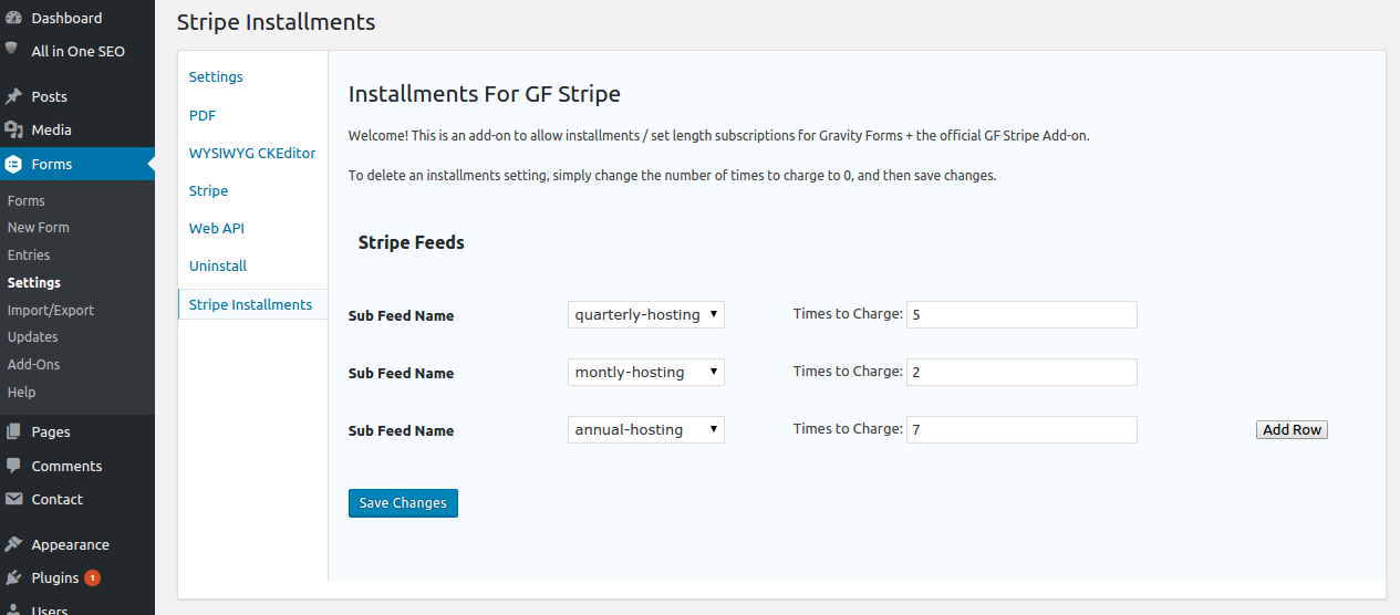 Installments for Stripe Gravity Forms settings page / control panel.