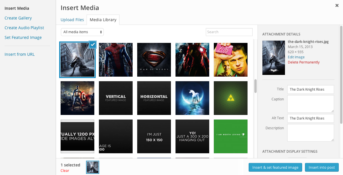The new 'Insert & set featured image' button in the media manager modal