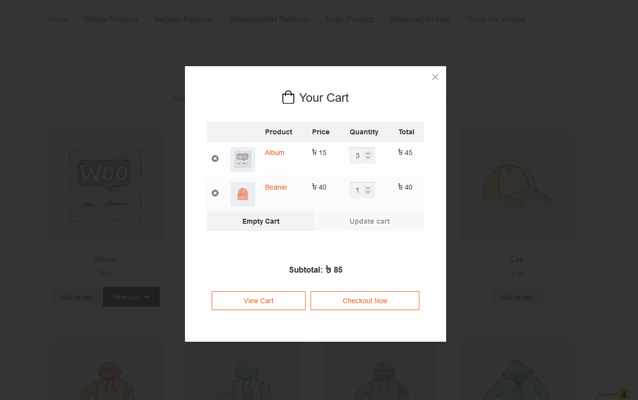 Popup Cart Preview