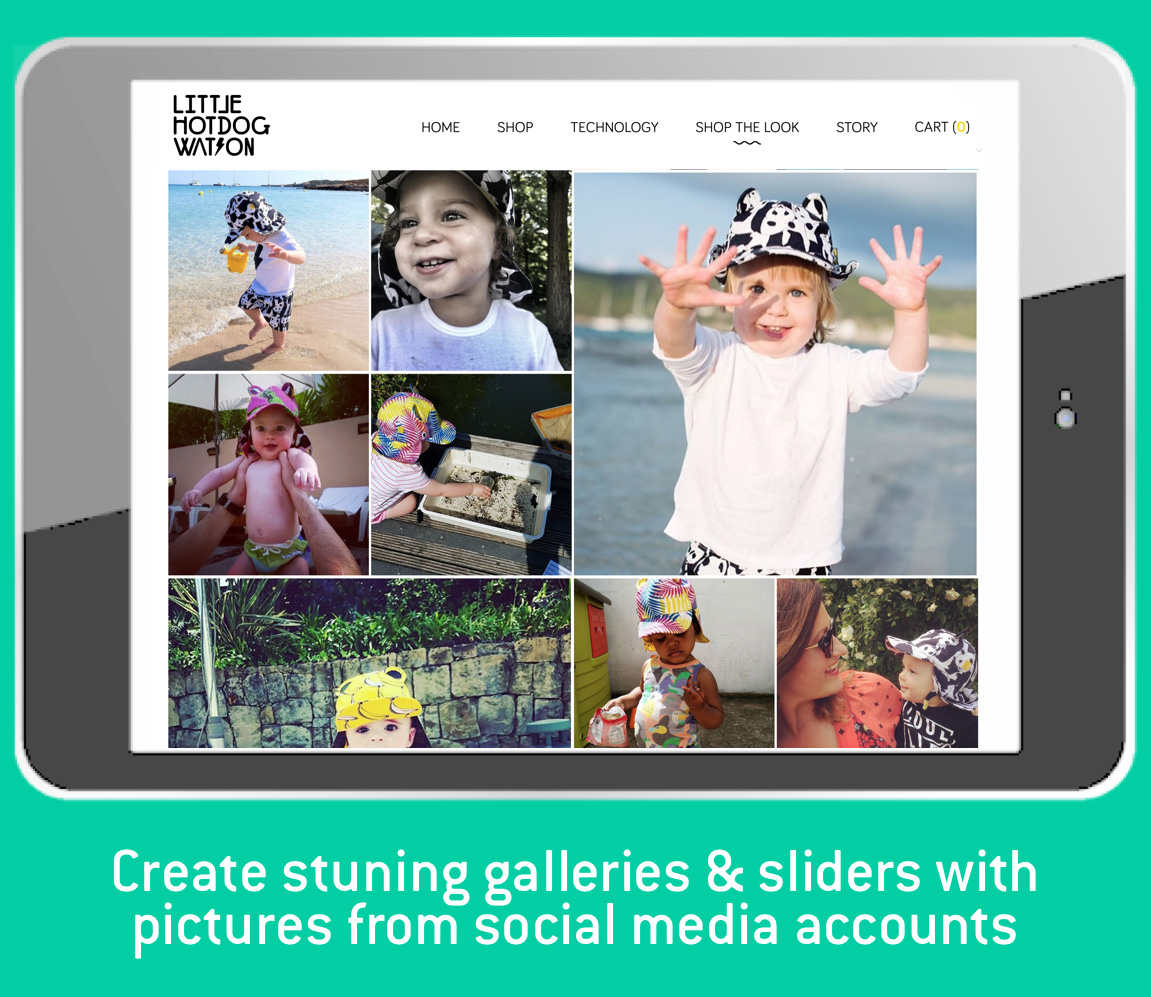 Create stunning galleries and sliders with pictures from Instagram accounts and #tags.