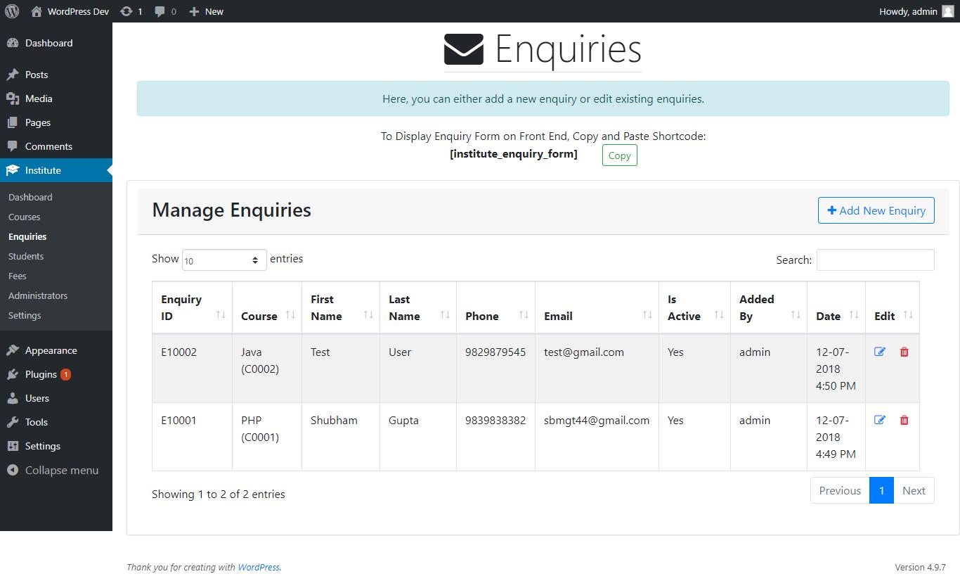 Manage Enquiries
