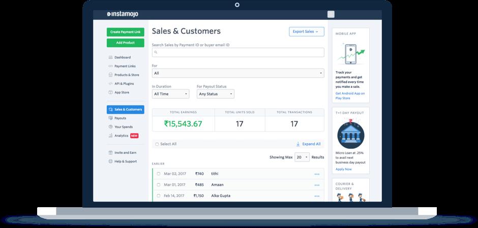 Instamojo Dashboard Sales Report