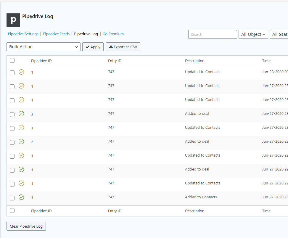 Gravity Forms Pipedrive crm logs.