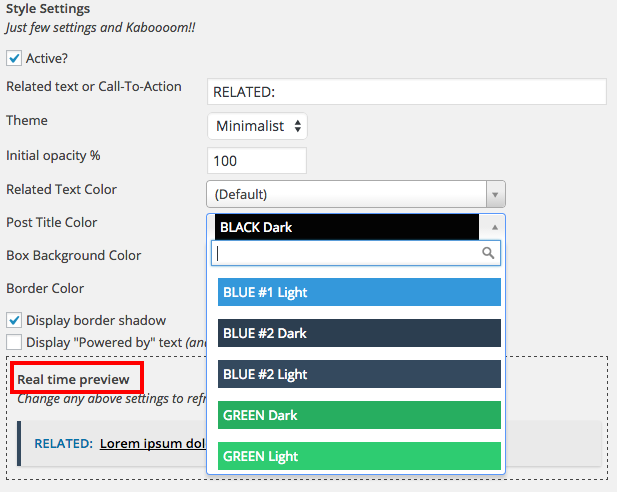 the backend of our plugin live preview available and super fast options to fit your theme style
