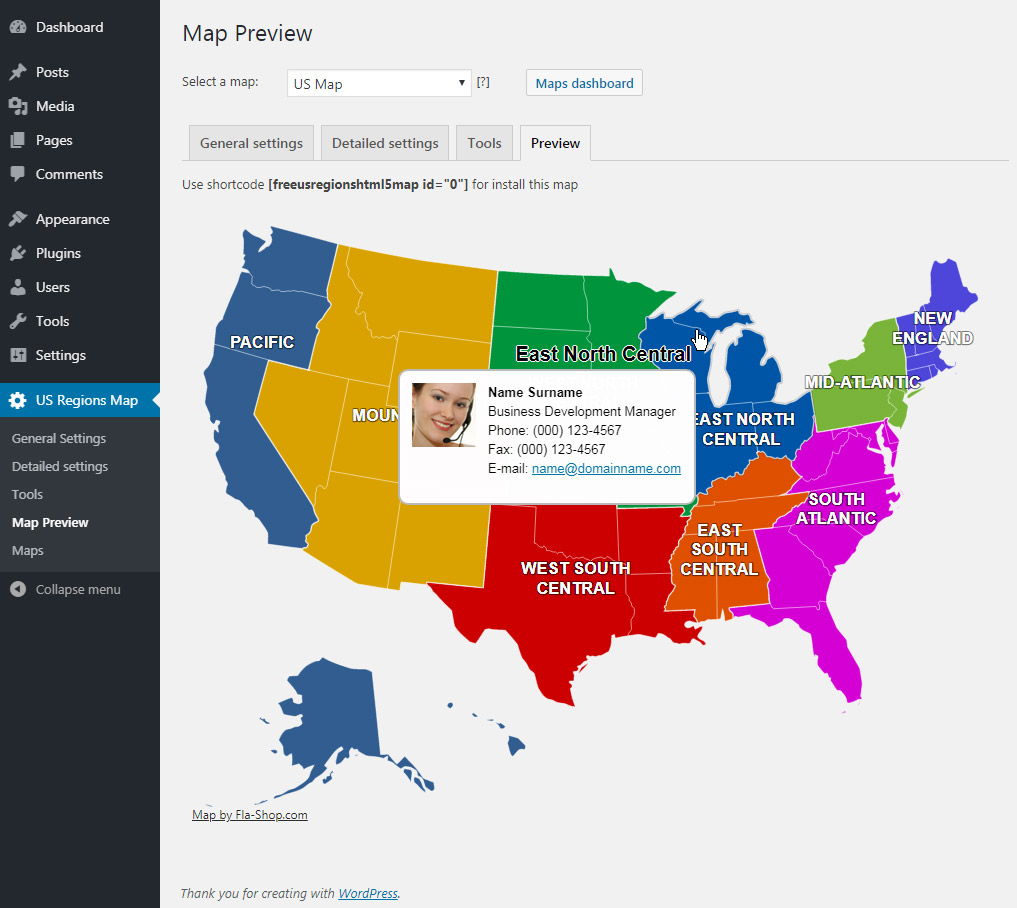 Interactive Map of the US Regions – WordPress-Plugin ...