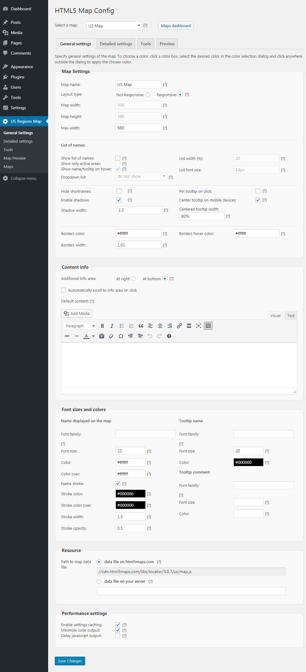 Basic map settings