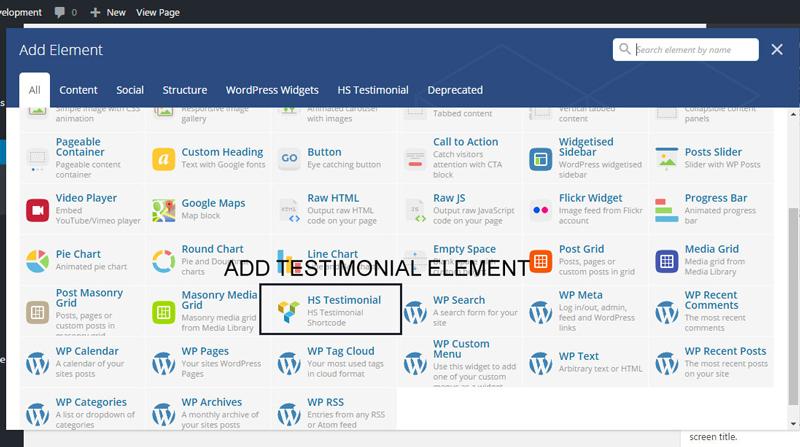 Add Testimonial VC Element