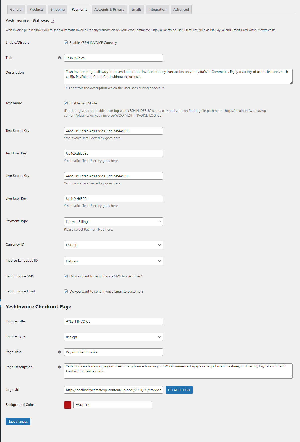 Enable Yesh Invoice Gateway and fill all settings.