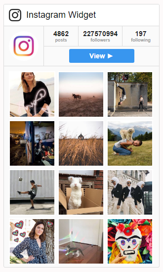 Instagram widget on the front end