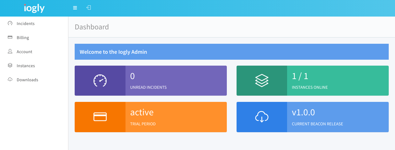 Iogly dashboard. The central hub to monitor your install.