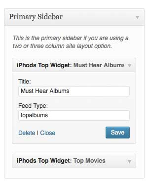 """Sample widget with """"topalbums"""" feed type (version 8.14)"""