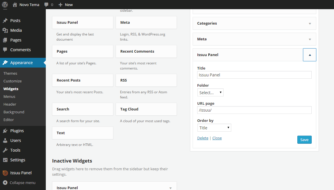 This widget displays the last document in accordance with the options