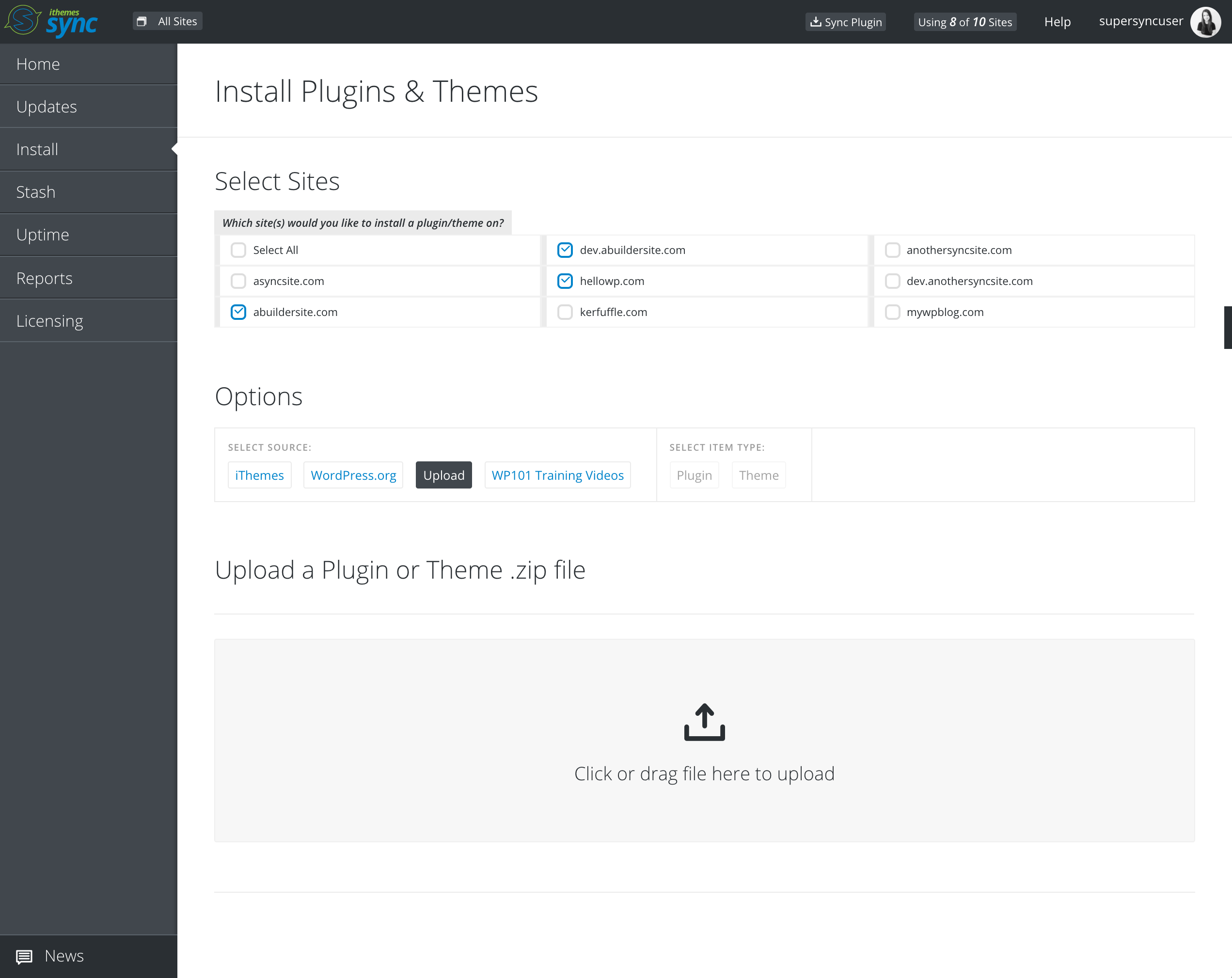 Bulk install themes and plugins across multiple sites via zip upload and WordPress.org search