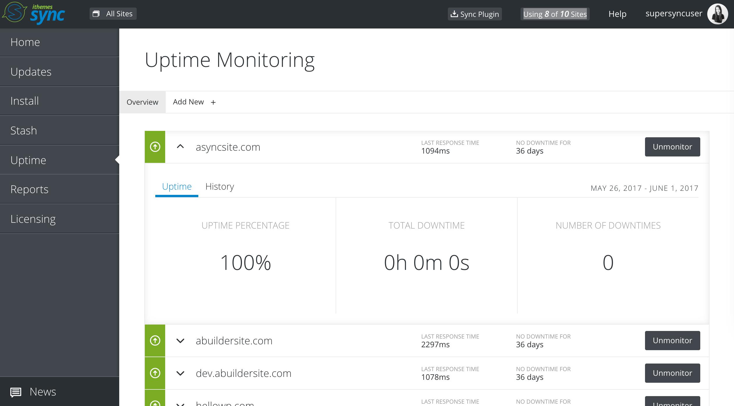 Uptime monitoring (Pro)