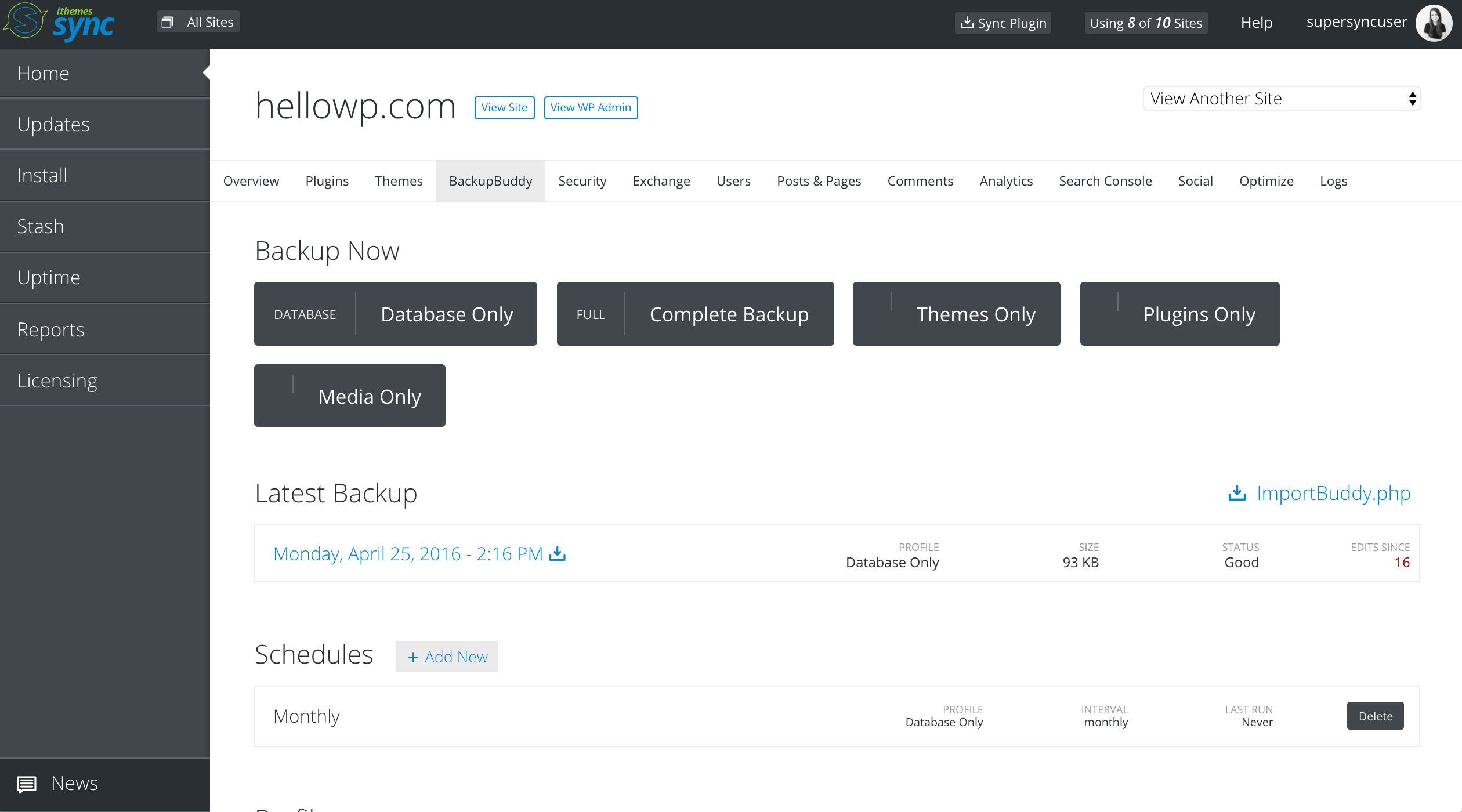 Run remote backups and download backup files remotely with BackupBuddy integration