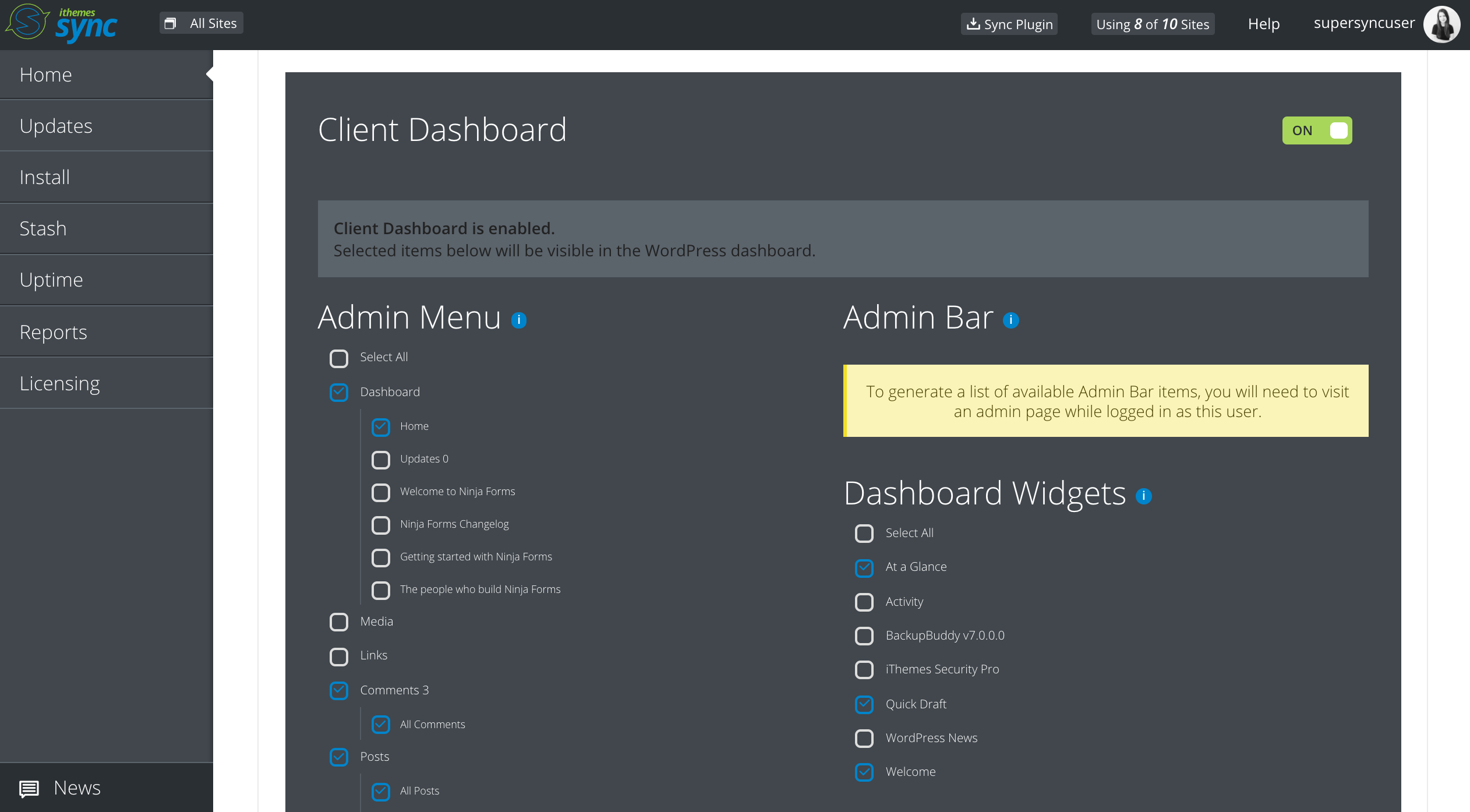 Activate Client Dashboard for certain users. Customize the WordPress dashboard and hide/display menu items (Pro)