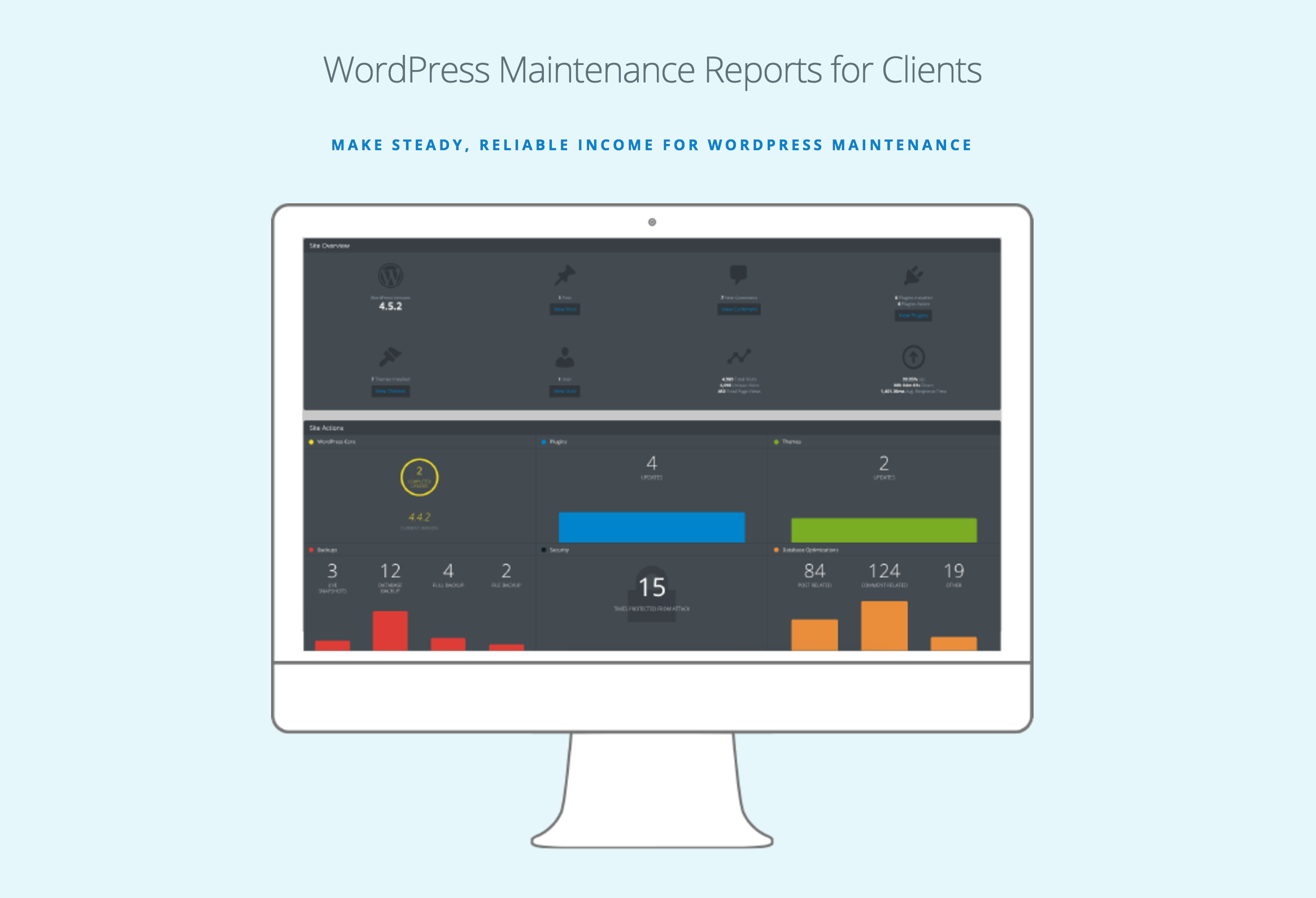 Send clients interactive WordPress maintenance reports that summarize update actions and other key site metrics (Pro)