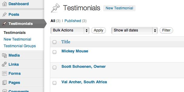 A list of testimonials.