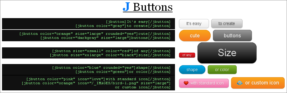 Samples of custom buttons created with <code>[jbutton] ... [/jbutton]</code> shortcodes.