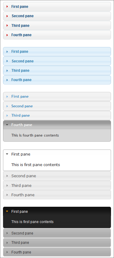 Samples of jquery accordions created with <code>[jaccordion] ... [/jaccordion]</code> shortcodes.